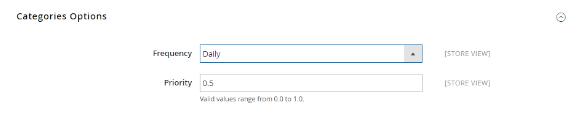 مرحله اول: تنظیمات فرکانس و اولویت به روز رسانی محتوا را انجام دهید اول از همه، در نوار کناری مدیریت، بر روی فروشگاه ها کلیک کنید، سپس پیکربندی را انتخاب کنید و بر روی نقشه سایت XML در پنل سمت چپ، زیر کاتالوگ کلیک کنید.